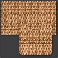 Set baie Friedola imitatie impletitura antiderapant maro din spuma PVC 2 covorase 80x48cm+48x48 cm cod 79641