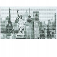 Covoras baie Friedola Cities antiderapant model orase dreptunghiular din spuma PVC 48x80cm cod 77749