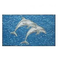 Covoras baie Friedola Delfini antiderapant albastru dreptunghiular din spuma PVC 48x80cm cod 77898