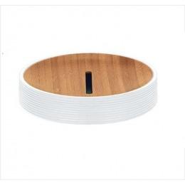 Sapuniera Kleine Wolke Kyoto alb ceramica cu interior lemn 11,00x6,6cm cod 34082