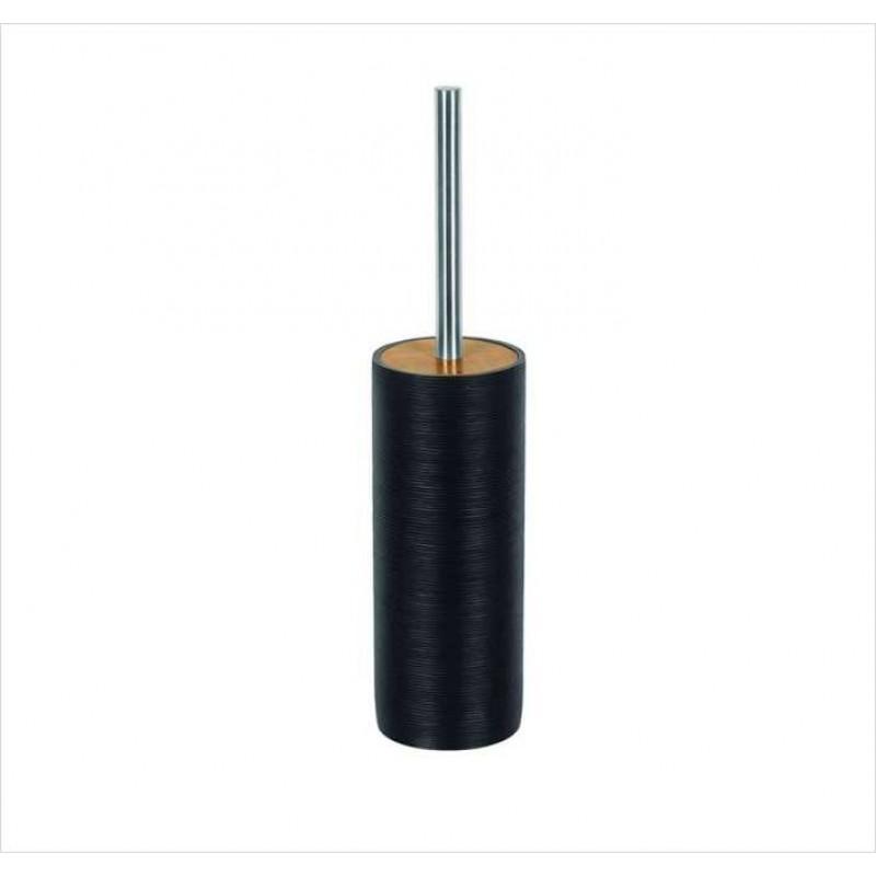 Perie WC Kleine Wolke Kyoto negru ceramica cu decor lemn 40x9cm cod 34088