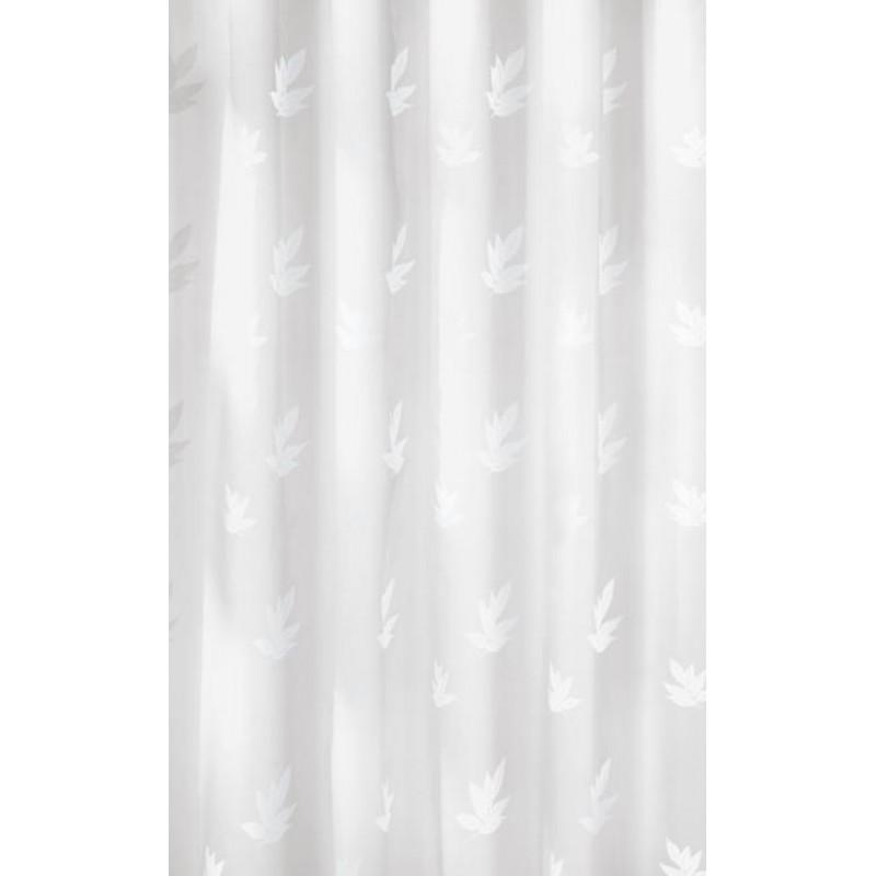 Perdea de dus  Kleine Wollke alba cu imprimeu frunze albe Canton 100% poliester de inalta calitate cu aspect textil  cod 34173