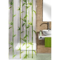 Perdea de dus Kleine Wolke  transparenta desen Bambus din plastic ecologic cod  34176