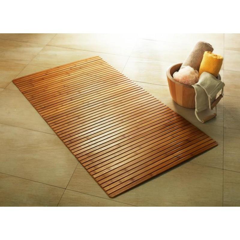 Covoras baie Kleine Wolke din lemn de bambus natur dreptunghiular 50x80 cm cod 34203