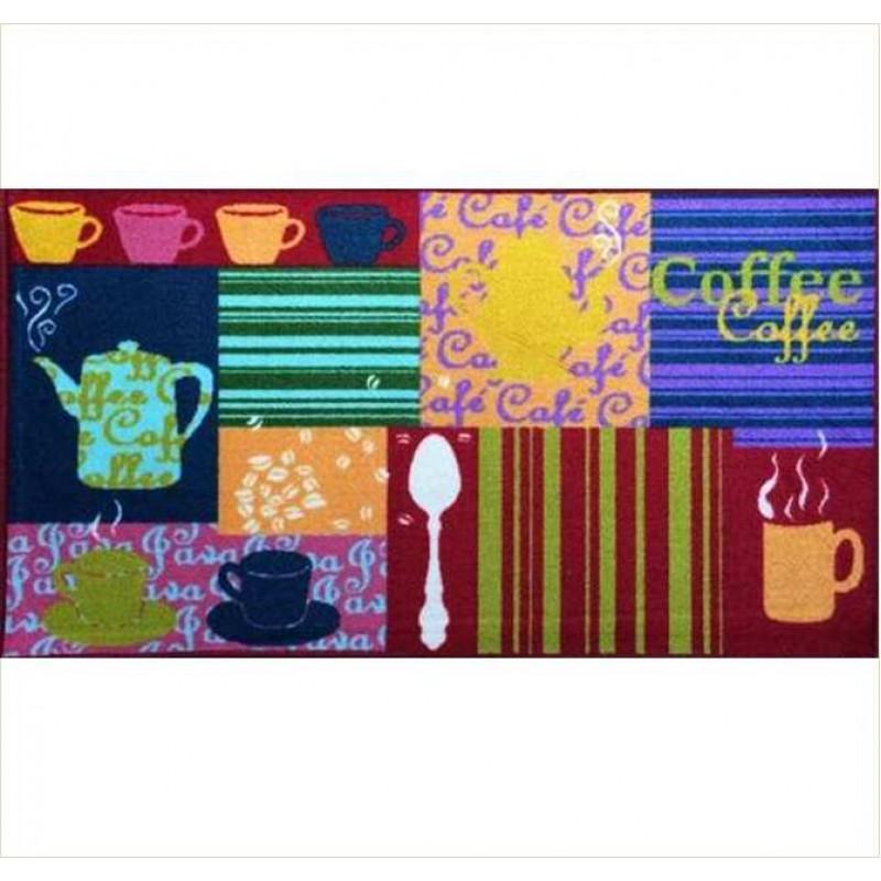 Covoras bucatarie Davo Pro Coffee nylon multicolor dreptunghiular 67x120cm cod 33000
