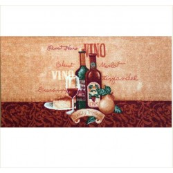 Covoras bucatarie Davo Pro Vino nylon rosu cu bej dreptunghiular 67x120cm cod 33001