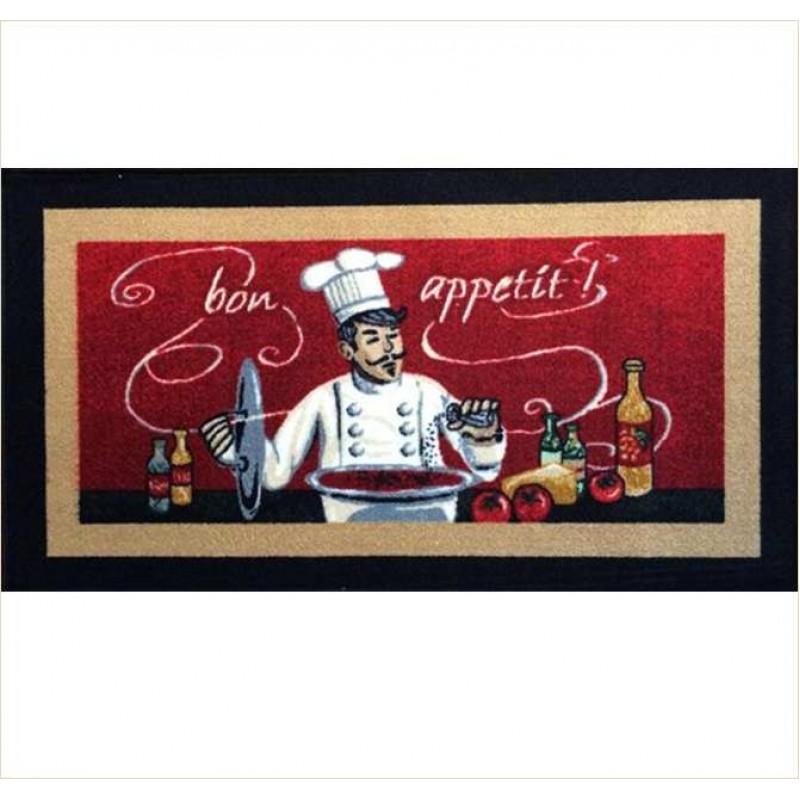 Covoras bucatarie Davo Pro Chef nylon fond rosu dreptunghiular 67x120cm cod 33002