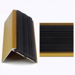 Profil aluminiu coltar treapta cu cauciuc antiderapant auriu (gold) 2120 (30x42 mm) x100cm-  Set de 5 buc cod 42010