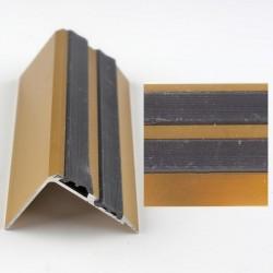 Profil aluminiu coltar treapta antiderapant cu banda dubla de cauciuc Auriu (Gold) 2150 (38mmx100cm)- 5 buc cod 42115
