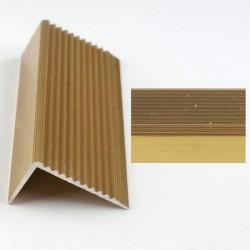 Profil aluminiu coltar treapta antiderapant cu rizuri auriu (gold)  2394 (22.5x40mm) x100cm- 5 buc cod 42017