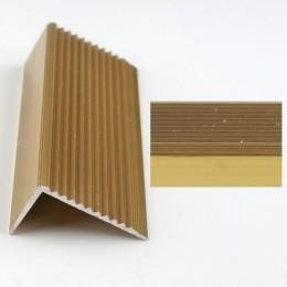 Profil cu rizuri pentru trepte auriu (gold)  2394 (22.5 x 40 mm) x100cm- 10 buc cod 42017