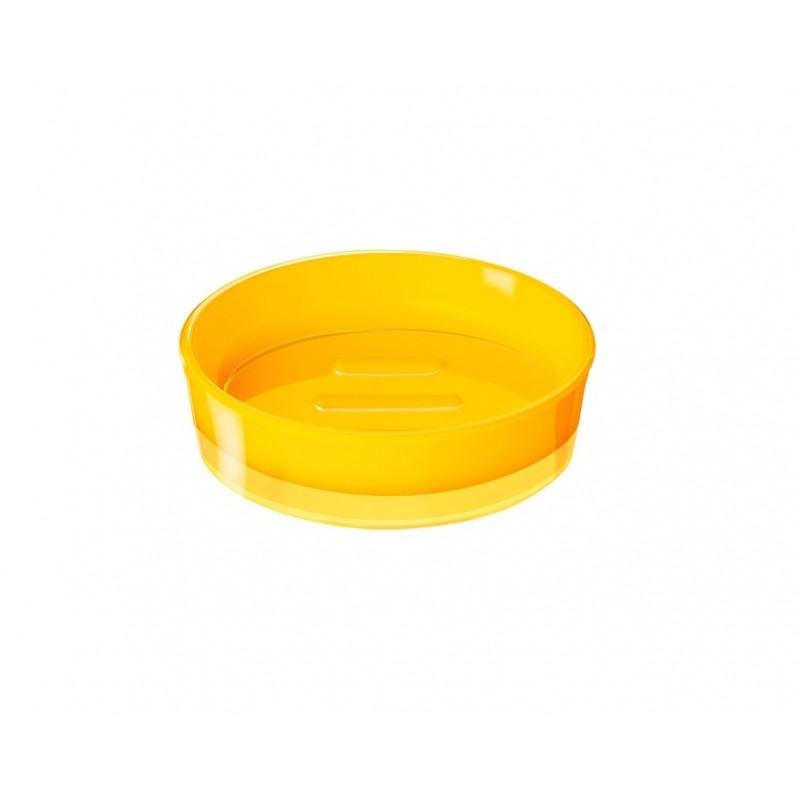 Sapuniera Ridder Disco galben acrilic lucios 11,3x11,3x3,3cm cod 38080