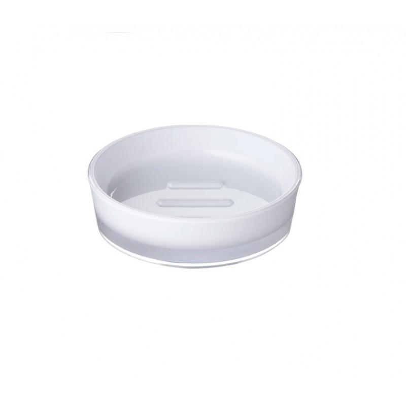 Sapuniera Ridder Disco alb acrilic lucios cod 38077