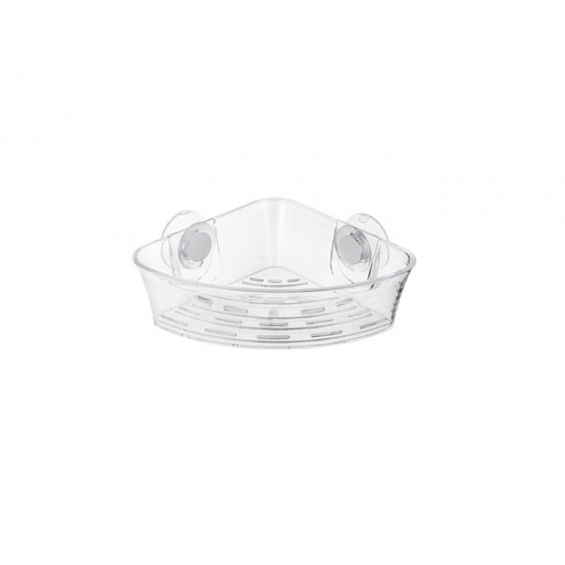 Etajera dus din plastic transparent Ridder pentru colt cu ventuze cod 38104 (12013100)