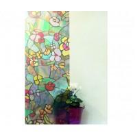Autocolant d-c-fix vitraliu Flori multicolore 45cm x 15m cod 200-3006