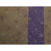 Saltea Pilates bej cu flori mov 60cmx180cm x 0.4 cm 100% polyester moale cod 74070.3