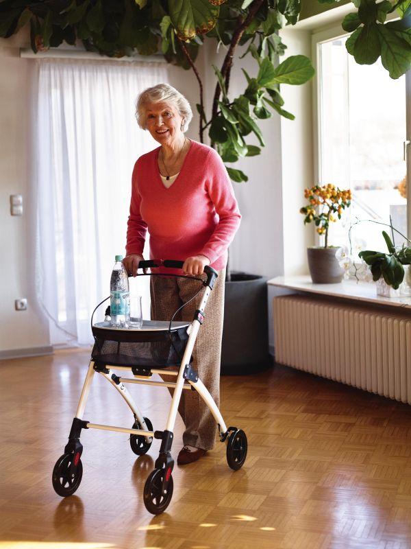 Cadru ajutator pentru mers in interior Ridder cu roti (rolator), cu cos si tava, pliabil Ridder A0300301 (cod 38129) 2021 davopro.ro