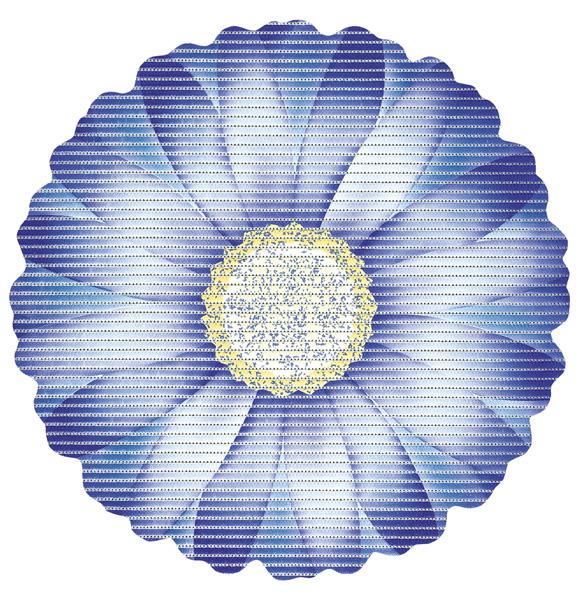 Covoras baie Friedola Daisy antiderapant albastru in forma de floare (shape) din spuma PVC 67cm diametru cod 77723.5 davopro 2021