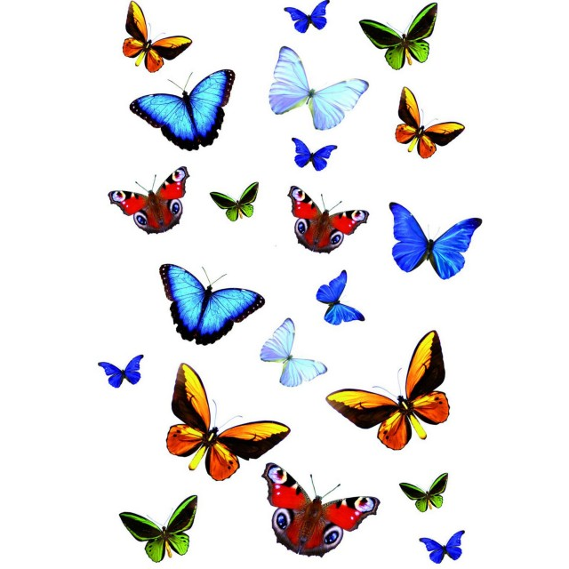 Sticker static decorativ Butterfly 15x23.5 cm (21 fluturasi)